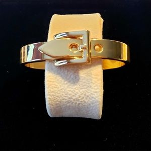 Belt Buckle Style Bangle, Yellow Tone